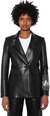Off-White Off White Logo Patch Leather Blazer