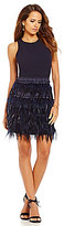 Gianni Bini Lucy Ostrich Feather Skirt Sleeveless Dress