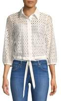 Plenty by Tracy Reese Open-Lace Tie-Hem Blouse