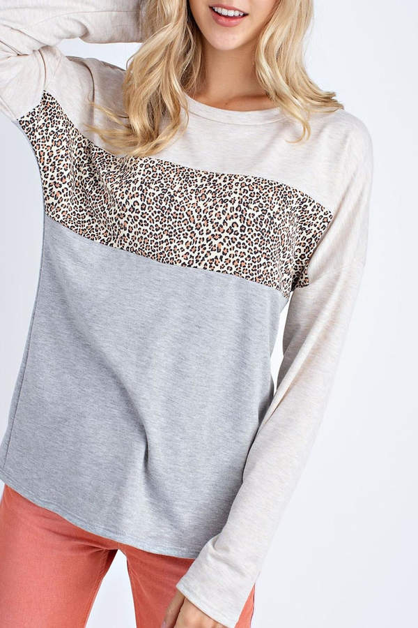Ami 12pm By Mon Oatmeal Leopard Sweater