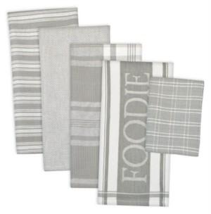 Design Imports Assorted Light Foodie Dishtowel and Dishcloth, Set of 5