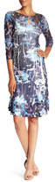 Komarov 3/4 Sleeve Floral Print Dress