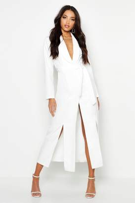 boohoo Woven Belted Split Detail Maxi Blazer Dress