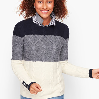 Talbots Chunky Cable Sweater - Colorblocked