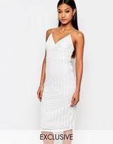 Club L Midi Dress With Cami Strap In Geo Sequin