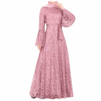 Younthone Womens Islamic Muslim Dress Long Sleeve Lace Ethnic Style Long Dress Plus Size Slim High Waist Sequin Swing Skirt Evening Party Ball Gown Pink