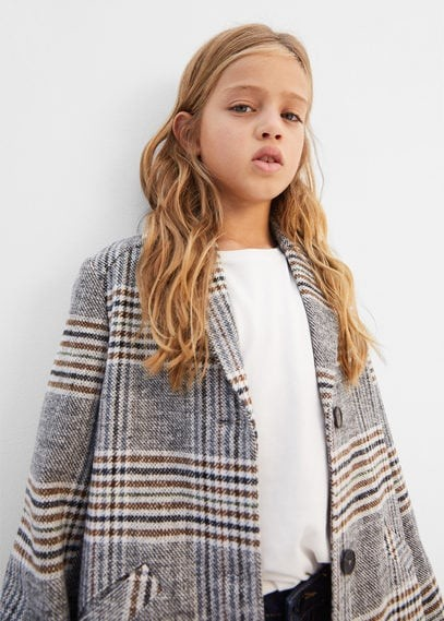 MANGO Checked lapels coat