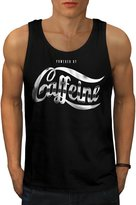 Powered By Caffeine Funny Joke Men NEW L Tank Top | Wellcoda