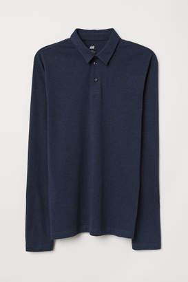 H&M Long-sleeved Slim Fit Shirt - Blue