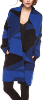 Devoted Women's Cardigans 60087-COBALT/BLACK - Cobalt & Black Abstract One-Button Cardigan - Women