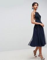 Asos Design Beautiful Beaded Cami Backless Midi Dress