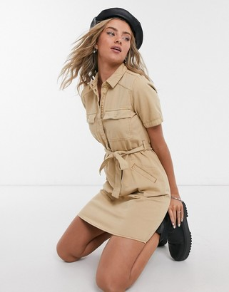 Noisy May shirt dress with belted waist in camel