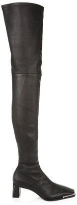 Alexander Wang Mascha Square-Toe Over-The-Knee Leather Boots