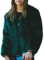 KINUT winter coat for women Faux Fur Long Sleeve Fluffy Wrap Jacket