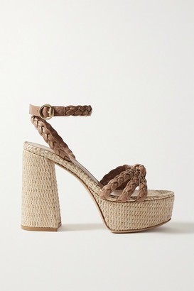 Gianvito Rossi 110 Braided Leather Platform Sandals - Tan