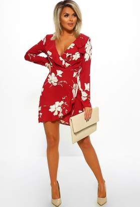 Pink Boutique Risking It Red Floral Print Frill Wrap Mini Dress