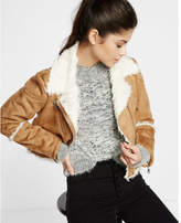 Express Camel Faux Shearling Moto Jacket