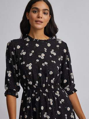 Dorothy Perkins Daisy High Neck Fit And Flare Mini Dress - Black