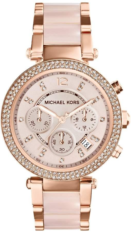 Michael Kors 'Parker' Blush Acetate Link Chronograph Watch, 39mm