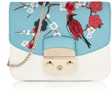Furla Petalo Metropolis Mini Crossbody Bag w/Detachable Turquoise Garden Embroidery Flap
