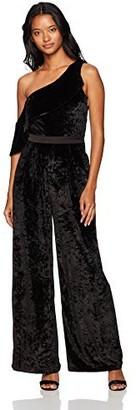 XOXO Women's One Shoulder Velvet Ruffle Jumpsuit