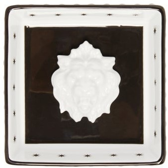 Gucci Lion Head Star-print Porcelain Trinket Tray - White Multi