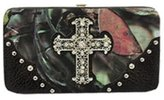 BNB Natural Camo Black Camouflage Fashion Cross Wallet With Rhinestones and Stud