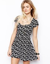 Asos Sweet Heart Playsuit in Monochrome Floral Print - Mono floral