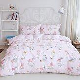 BuLuTu Premium Cotton Floral Butterfly Print Twin Duvet Cover Sets Light Pink For Girls Reversible Kids Bedding Cover Sets Zipper Closure For Teens (1 Duvet Cover + 2 Pillowcases)