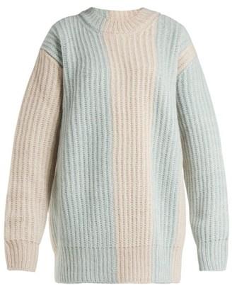 Calvin Klein Striped Mohair-blend Sweater - Light Blue