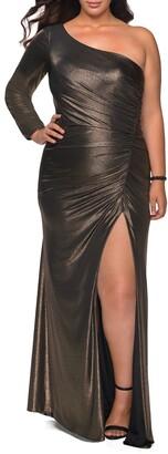 La Femme Metallic One-Shoulder Gown
