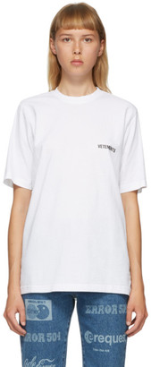 Vetements White Logo Front Back T-Shirt
