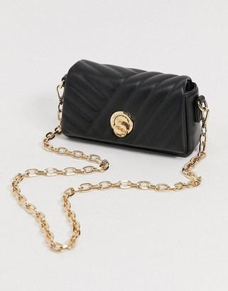 Forever New quilted cross body with hardware detail in black