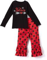 Beary Basics Red 'Believe' Long-Sleeve Tee & Ruffle Pants - Toddler & Girls