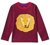 Joules Red and Navy Stripe Roar Applique Tee