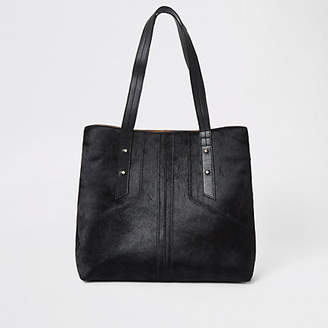 River Island Black leather slouch bag