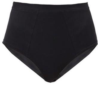 Rossell England - High-waist Cotton-jersey Briefs - Black