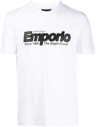 Emporio Armani logo embroidered T-shirt