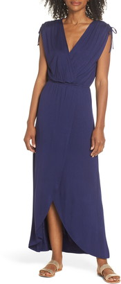 Fraiche by J Tie Shoulder Faux Wrap Maxi Dress
