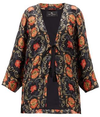 Etro Campeiro Floral-print Silk-blend Jacket - Black Red