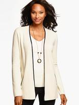 Talbots Faux Leather-Trimmed Milano Sweater Jacket