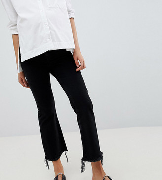 ASOS DESIGN Maternity egerton rigid cropped flare jeans in washed black with raw hem with side bump band