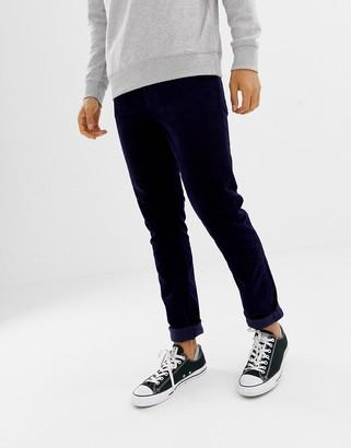 Weekday friday skinny cord pants dark blue