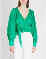 BA&SH Pandora cotton and silk-blend wrap blouse