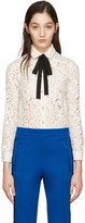 Gucci Ivory Lace Bow Collar Shirt