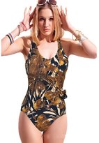Lukitty Women's One Piece Push Up Bandage Print Monokini Bathing Suits Swimsuit XXL