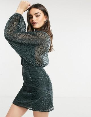 And other stories & burnout velvet mini dress in dark grey