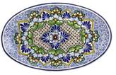Artisan Crafted Blue Talavera Floral Ceramic Oval Platter, 'Floral Cosmos'