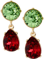 Kenneth Jay Lane Golden Crystal Double-Drop Clip Earrings, Green/Red