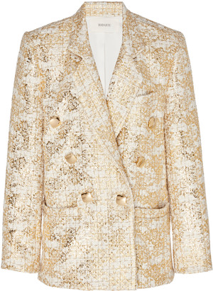 Rodarte Double-Breasted Metallic Tweed Blazer